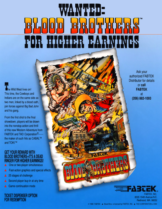 Blood Bros. Coin Op Arcade cover artwork