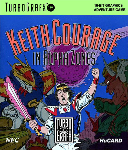 Keith Courage in Alpha Zones NEC TurboGrafx 16 cover artwork