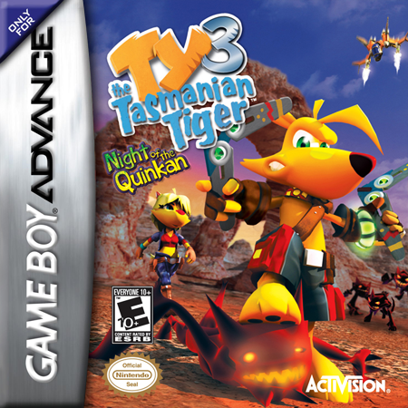 Ty the Tasmanian Tiger 3 - Night of the Quinkan Nintendo Game Boy Advance cover artwork
