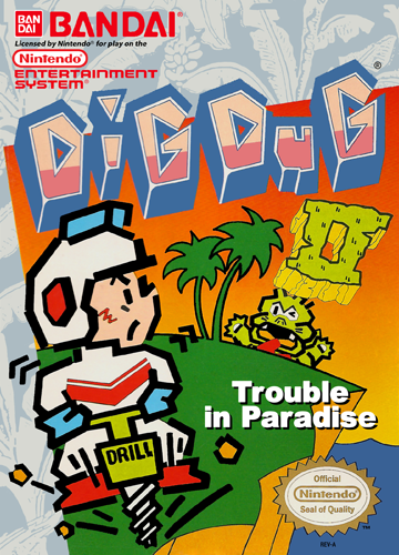 Dig Dug II - Trouble in Paradise Nintendo NES cover artwork