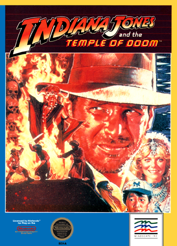 Indiana Jones and the Temple of Doom Nintendo NES cover artwork