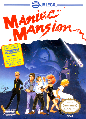 Maniac Mansion Nintendo NES cover artwork