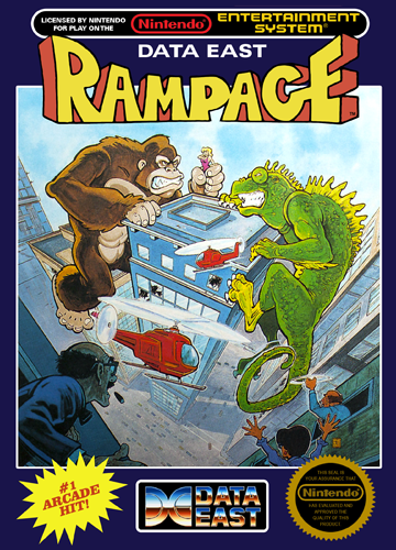 Rampage Nintendo NES cover artwork