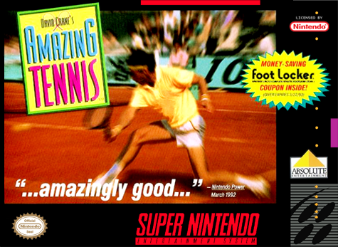 David Crane's Amazing Tennis Nintendo Super NES cover artwork