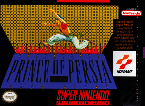 Prince of Persia Nintendo Super NES cover artwork