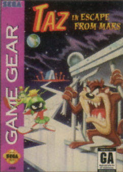 Taz in Escape from Mars Sega Game Gear cover artwork