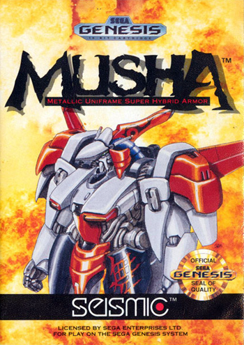 MUSHA - Metallic Uniframe Super Hybrid Armor Sega Genesis cover artwork