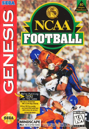 NCAA Football Sega Genesis cover artwork