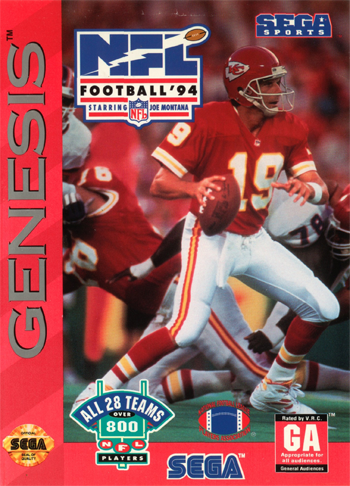 NFL Football '94 Starring Joe Montana Sega Genesis cover artwork