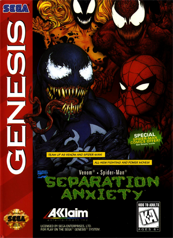 Spider-Man & Venom - Separation Anxiety Sega Genesis cover artwork