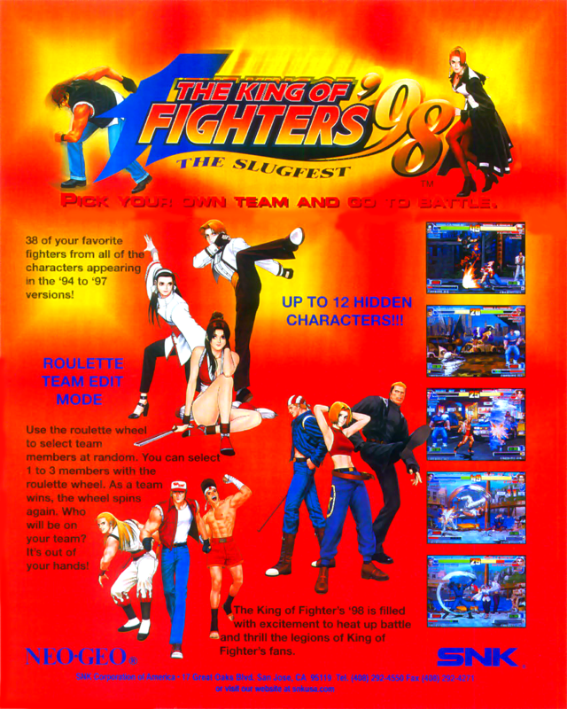 King of Fighters '98, The SNK NEO GEO cover artwork