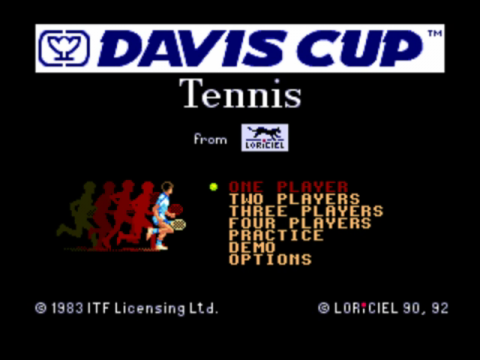 David Cup Tennis, The title screenshot