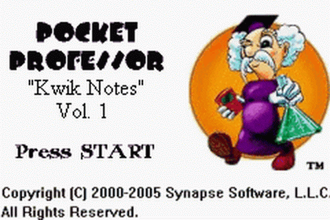 Pocket Professor - Kwik Notes - Vol. 1 title screenshot