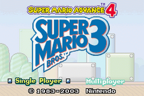 Super Mario Advance 4 - Super Mario Bros. 3 title screenshot