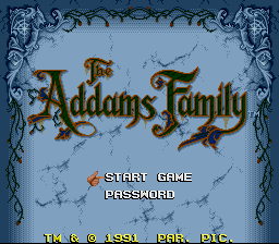 Addams Family, The title screenshot