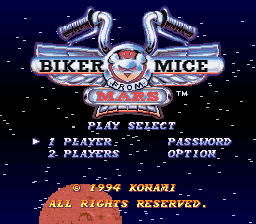 Biker Mice from Mars title screenshot