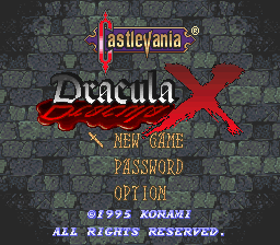 Castlevania - Dracula X title screenshot