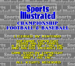 Sports Illustrated Championship Football & Baseball title screenshot