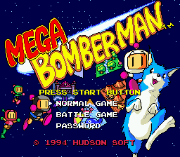 Mega Bomberman title screenshot
