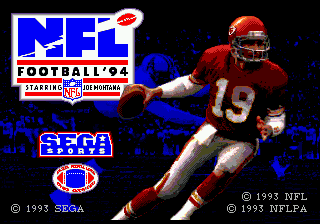 NFL Football '94 Starring Joe Montana title screenshot