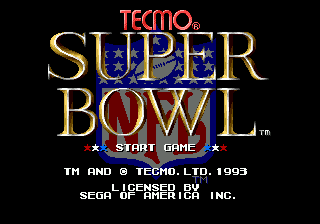 Tecmo Super Bowl title screenshot