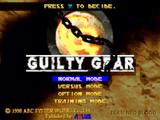 Guilty Gear title screenshot