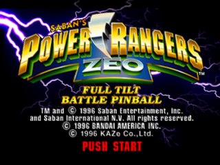 Power Rangers Zeo - Full Tilt Battle Pinball title screenshot