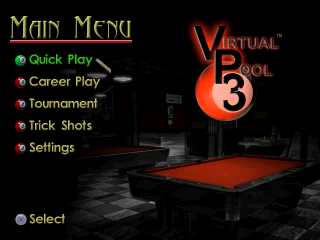 Virtual Pool 3 title screenshot