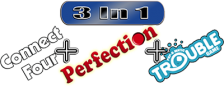 Three-in-One Pack - Connect Four + Perfection + Trouble logo