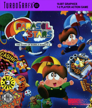 Parasol Stars - The Story of Bubble Bobble III NEC TurboGrafx 16 cover artwork