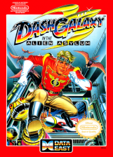 Dash Galaxy in the Alien Asylum Nintendo NES cover artwork