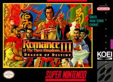 Romance of the Three Kingdoms III - Dragon of Destiny Nintendo Super NES cover artwork