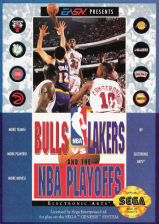 Bulls vs Lakers and the NBA Playoffs Sega Genesis cover artwork