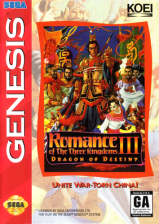 Romance of the Three Kingdoms III - Dragon of Destiny Sega Genesis cover artwork