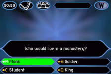 Who Wants to Be a Millionaire ingame screenshot