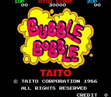 Bubble Bobble title screenshot