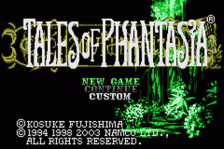 Tales of Phantasia title screenshot