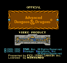 Advanced Dungeons & Dragons - Hillsfar title screenshot