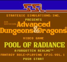 Advanced Dungeons & Dragons - Pool of Radiance title screenshot