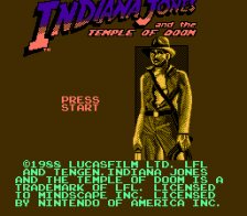 Indiana Jones and the Temple of Doom title screenshot