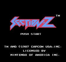 Section-Z title screenshot