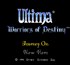 Ultima - Warriors of Destiny title screenshot