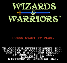 Wizards & Warriors title screenshot