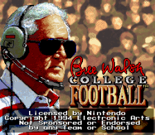Bill Walsh College Football title screenshot