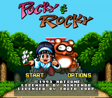 Pocky & Rocky title screenshot