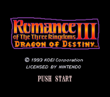 Romance of the Three Kingdoms III - Dragon of Destiny title screenshot