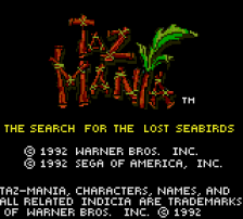 Taz-Mania - The Search for the Lost Seabirds title screenshot