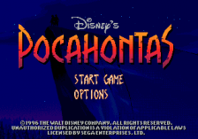 Pocahontas title screenshot
