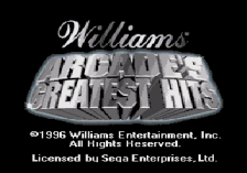 Williams Arcade's Greatest Hits title screenshot