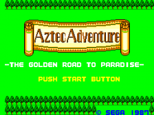 Aztec Adventure - The Golden Road to Paradise title screenshot